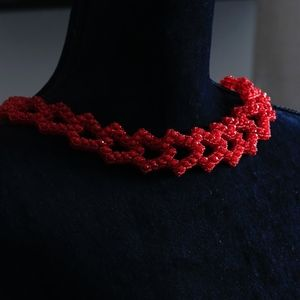 Seed bead necklace red necklace